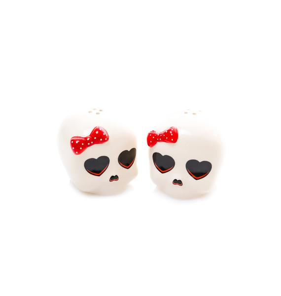 Sourpuss Clothing Darling Skull Salt and Pepper Shakers