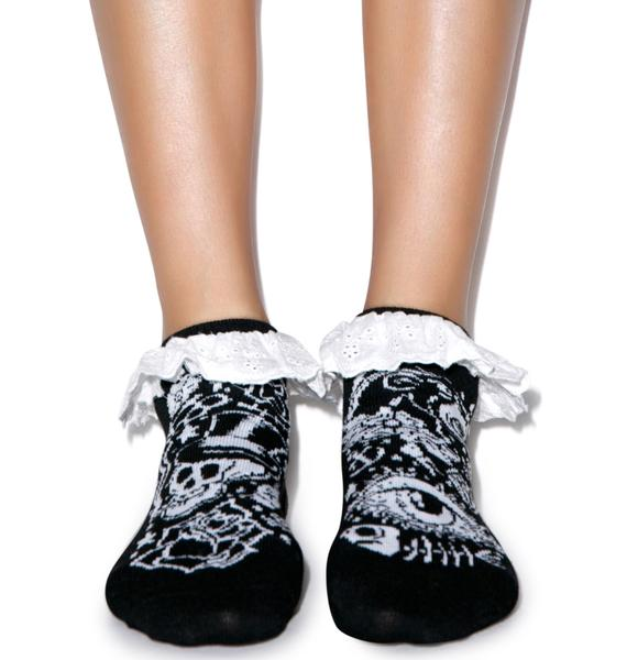 Too Fast Tattoo Eyelet Ankle Sock