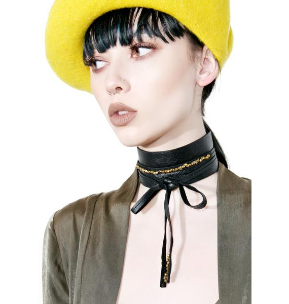 WREN AND GLORY Thick Leather Druzy Choker