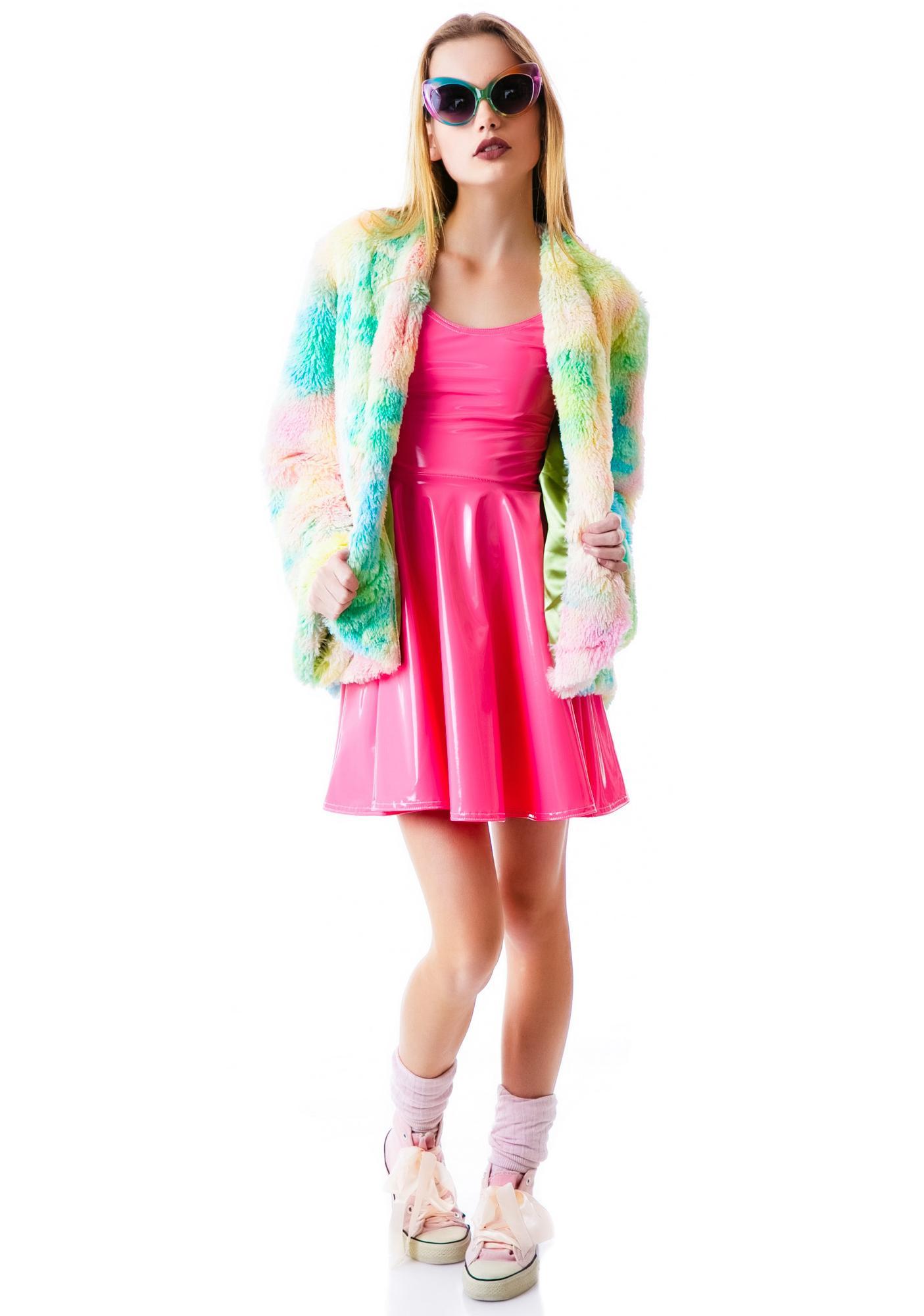 Psychedelic Tie Dye Furry Pill Coat