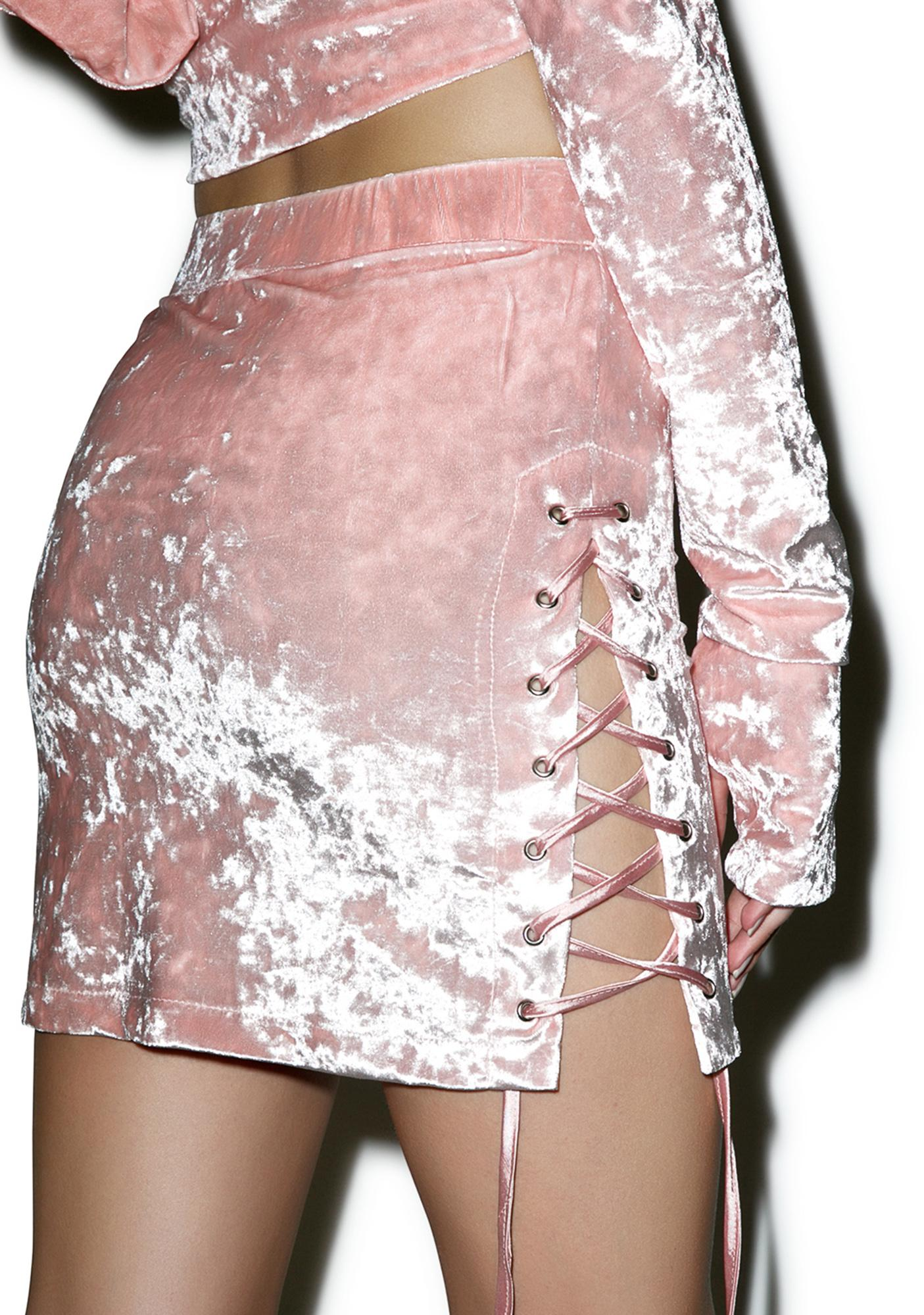 24HRS Blush Velvet Crush Side Up Skirt