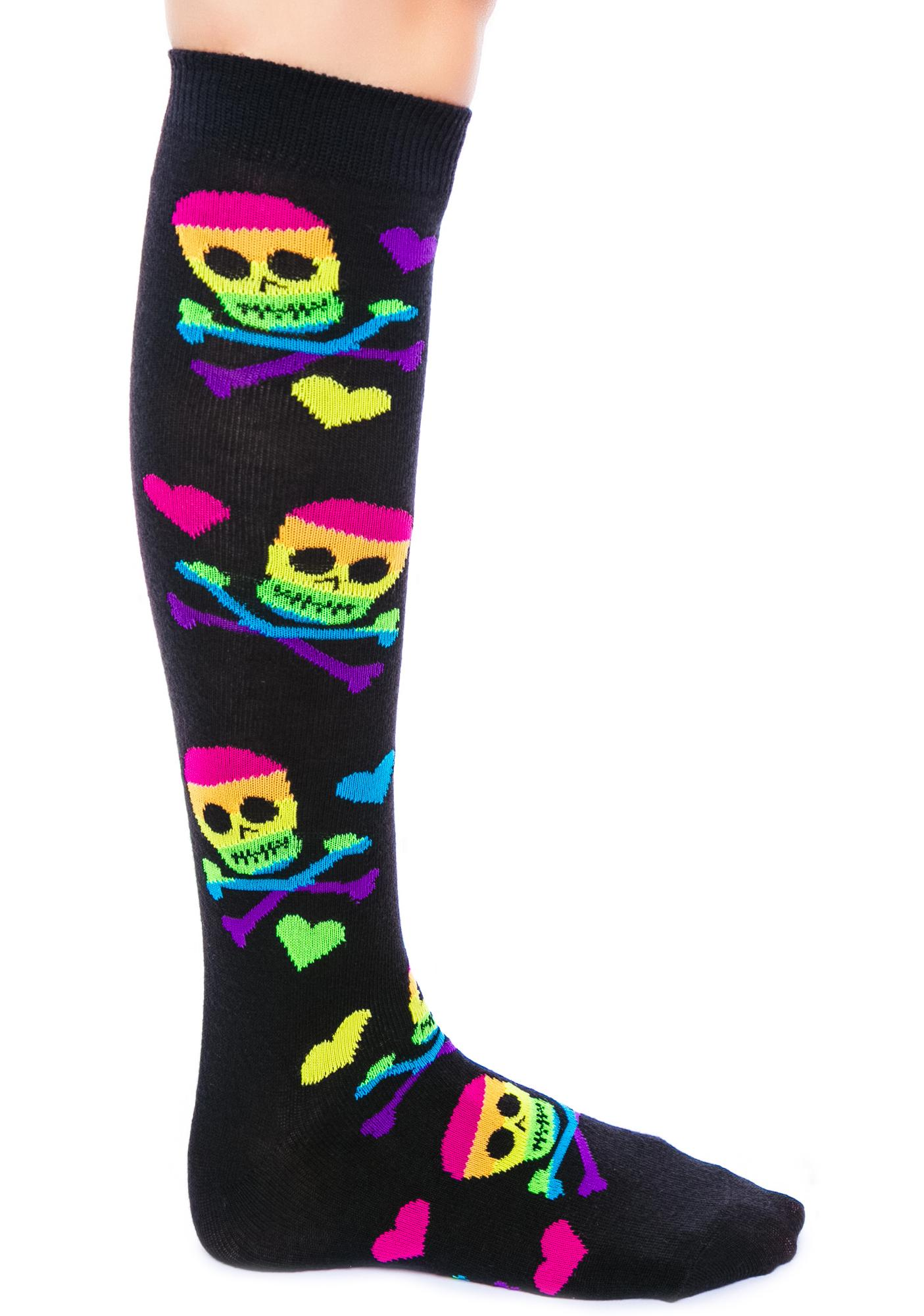 Skulls Heart Rainbows Knees Socks