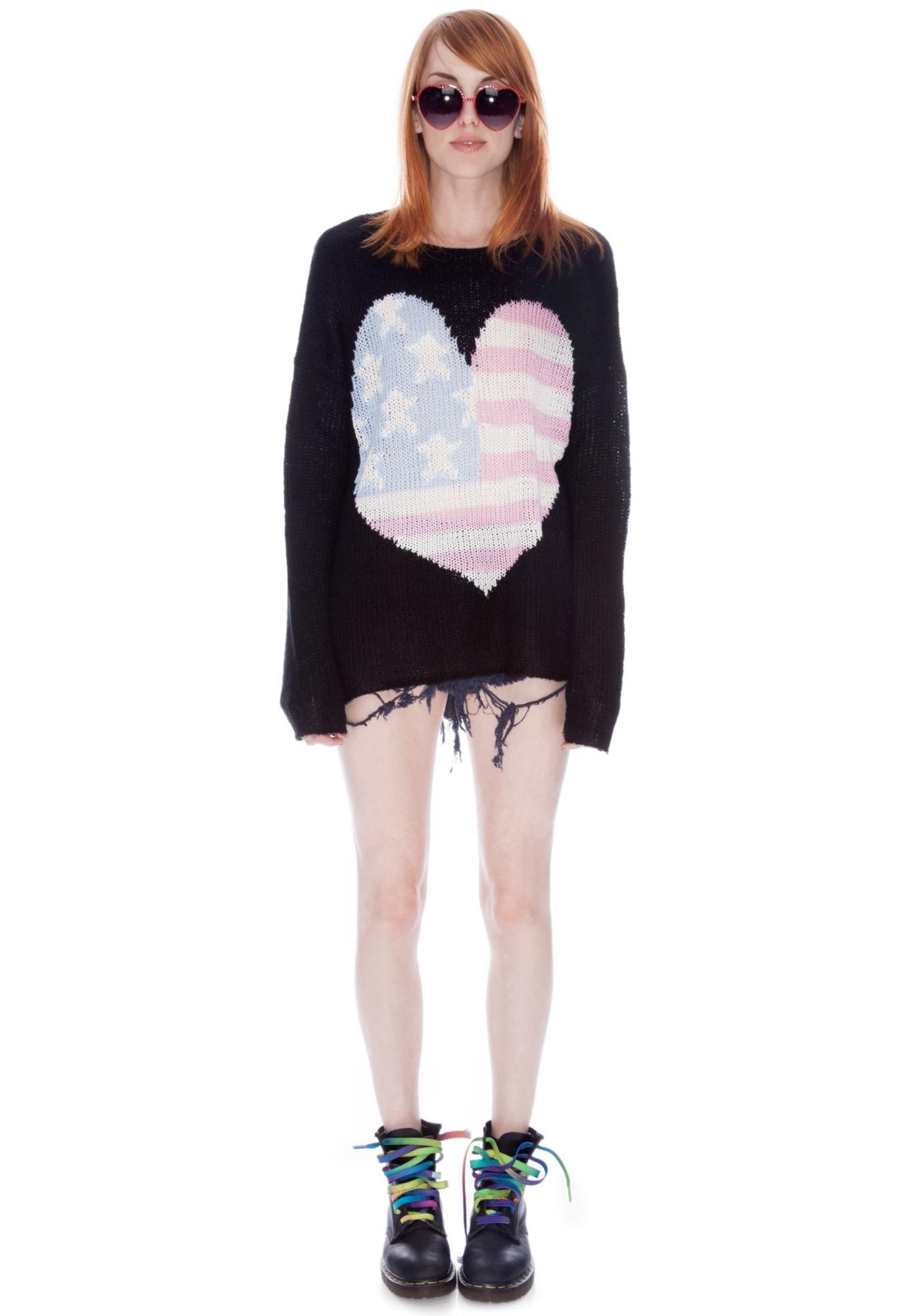 Wildfox Couture USA Heart Billy Sweater