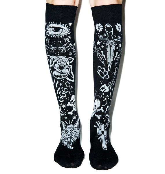 Too Fast Tattooed Rolled Over The Knee Socks