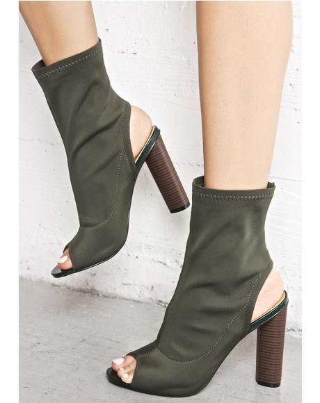Olive Axis Cut-Out Booties