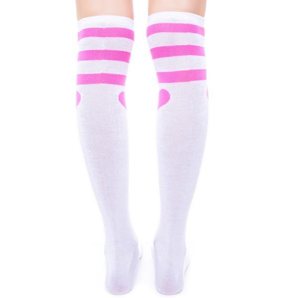 CoCo's Heart Striped Knee Socks