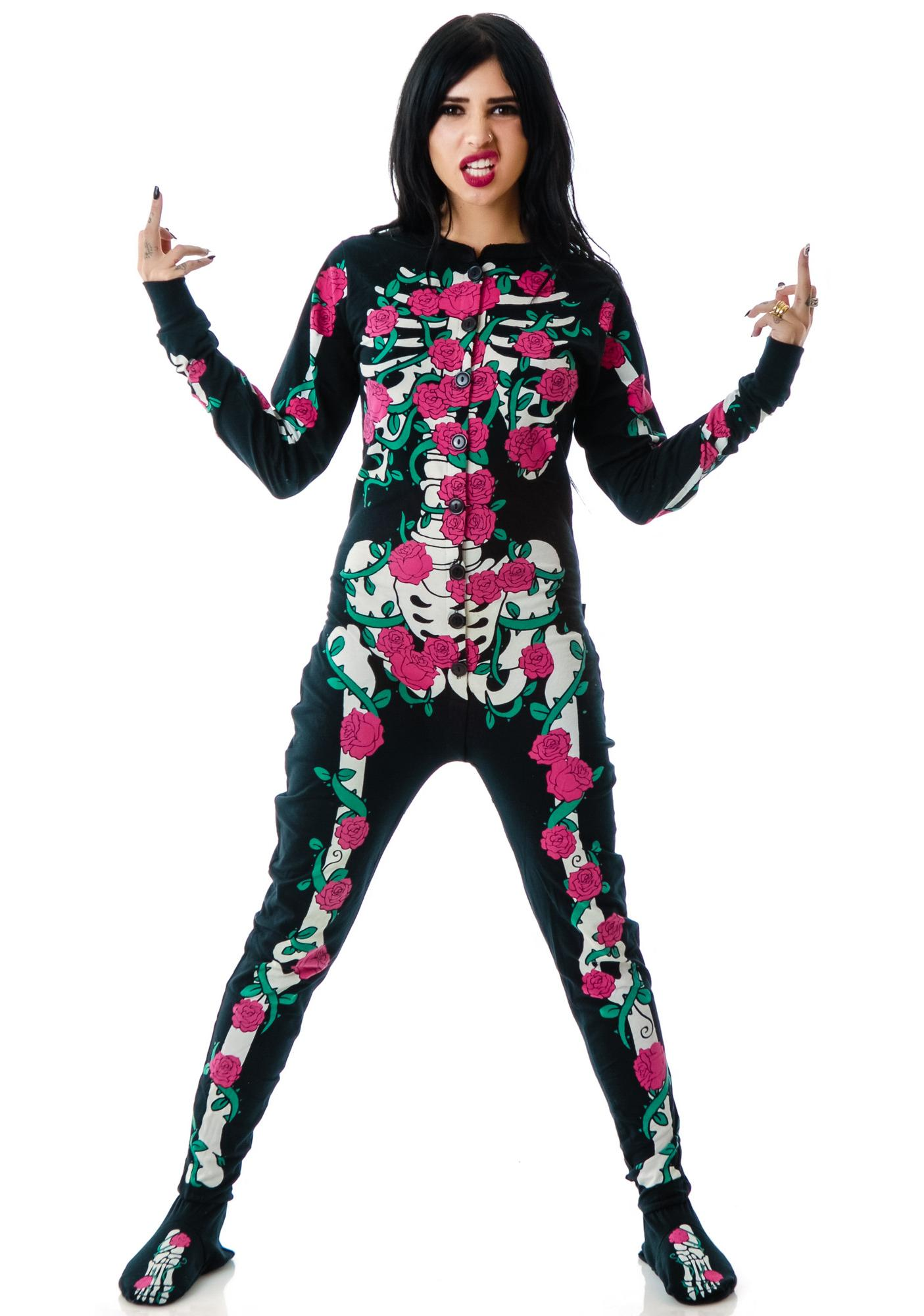 Too Fast Rose Vine Skeleton Skelly Footed Pajamas