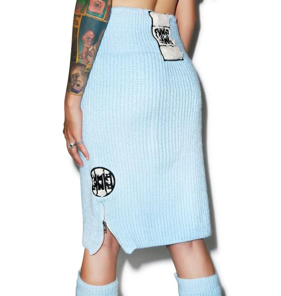 Maria ke Fisherman Blu Fluffy Knit Pencil Skirt
