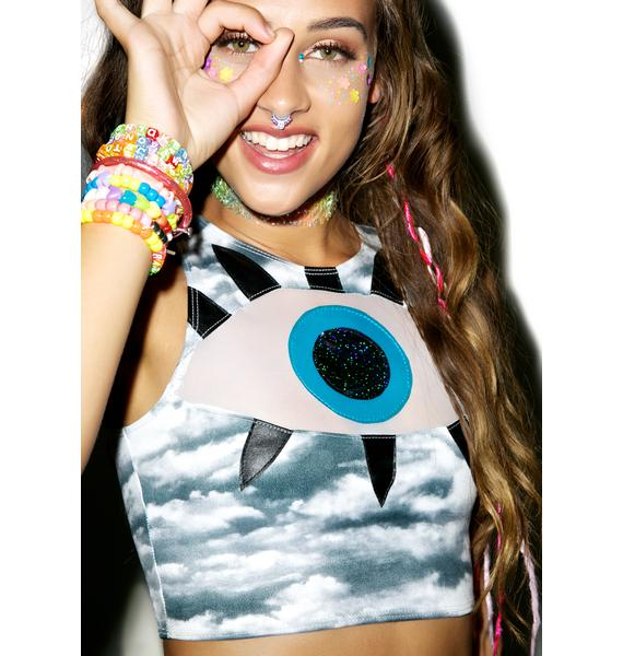 J Valentine All Eyes On You Cloudy Crop Top