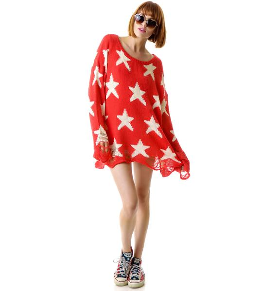 Wildfox Couture Free Love Seeing Stars Winter Lennon Sweater