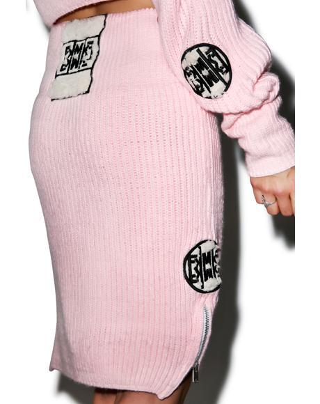 Fluffy Knit Pencil Skirt
