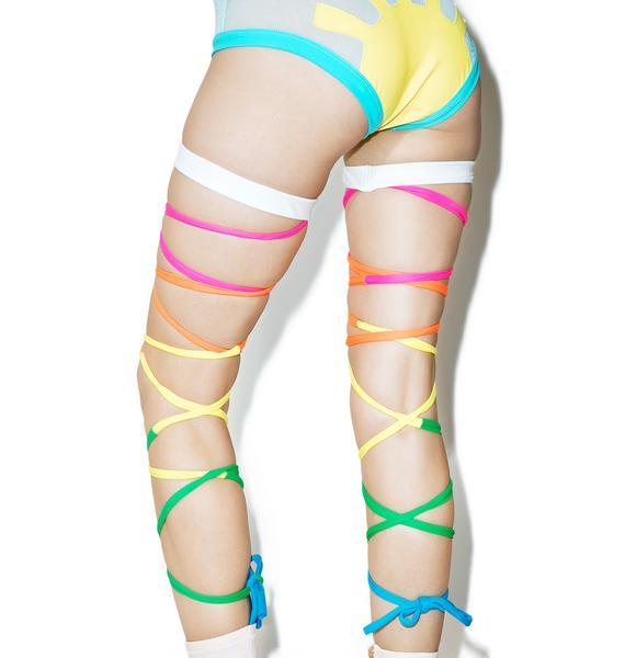 J Valentine Neon Rainbow Baby Leg Wraps