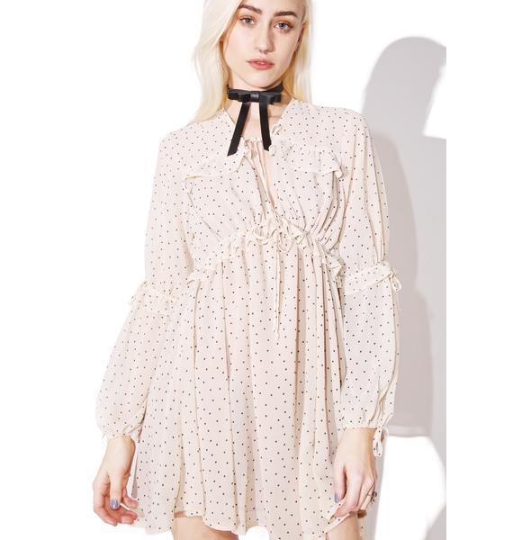 For Love & Lemons Creme Dot Truffles A-Line Dress