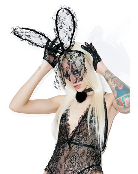 Ladylike Lace Veil Bunny Ears