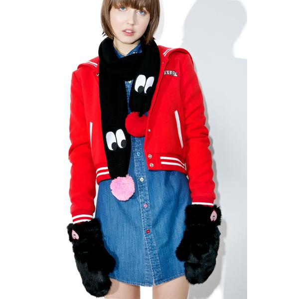 Lazy Oaf Black Heart Mittens