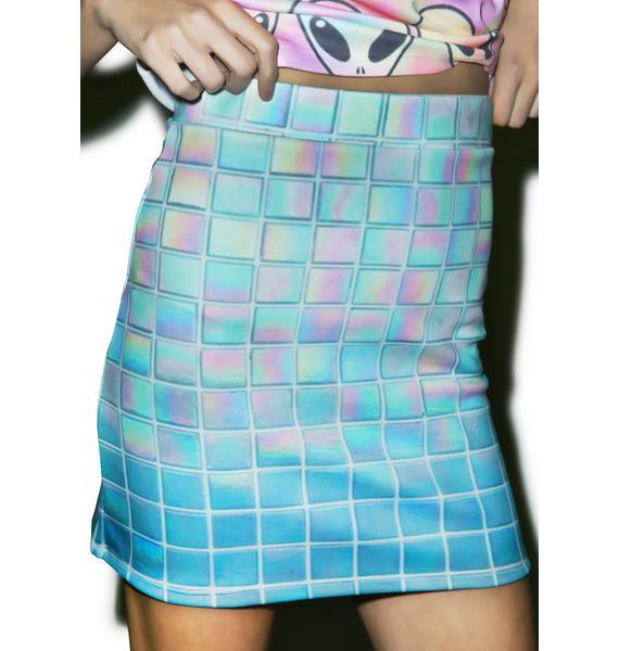 Hologram Grid Pencil Skirt