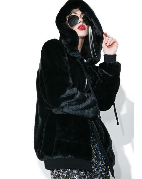 Faux Fur Zip-Up Hoodie
