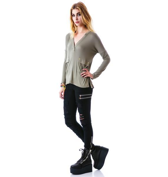 Elene Star Pocket Long Sleeve Shirt