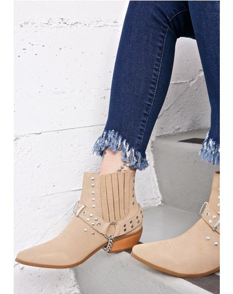 Tan Laso Suede Booties