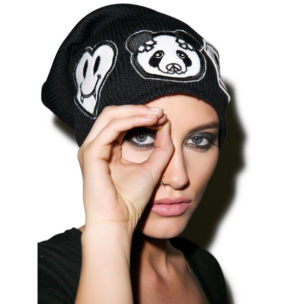 Lauren Moshi Dede Skull Panda Patch Combo Beanie
