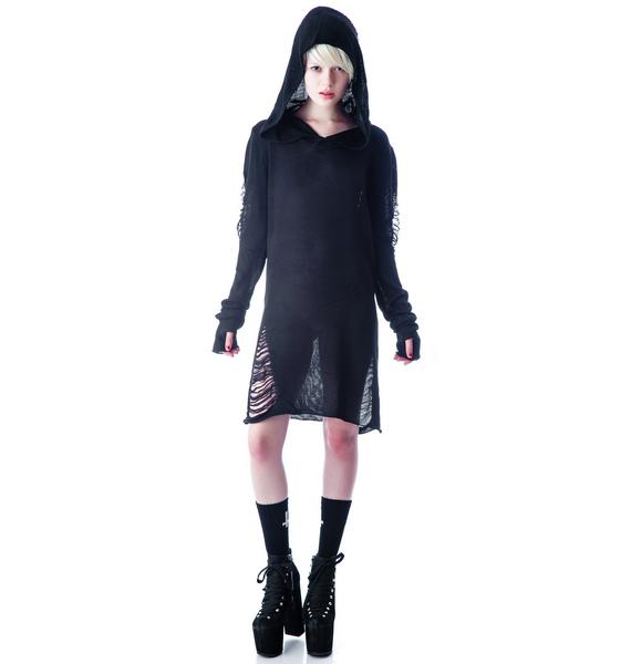 Widow Tattered Hooded Sweater Dress