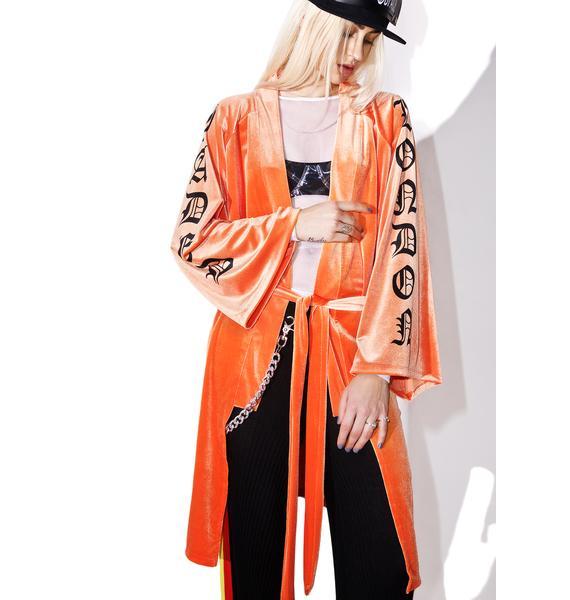 Jaded London Orange Velvet Kimono