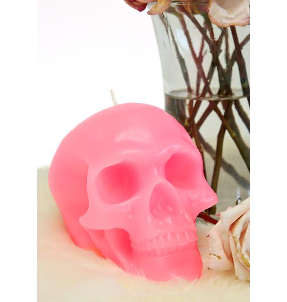 Killstar Pink Skull Candle