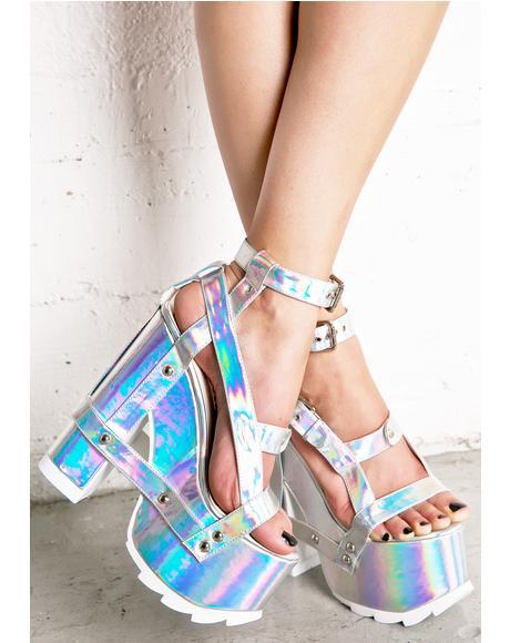 Holographic Nightcall Platform Heels