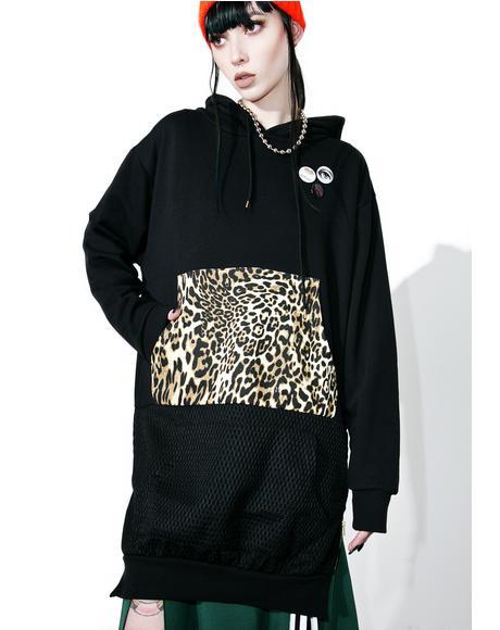 Black Leopard Print Hoodie