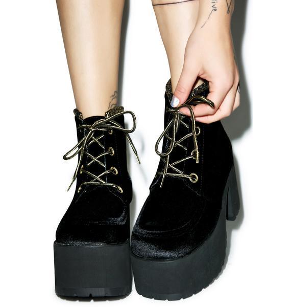 T.U.K. Velvet Lace-Up Nosebleed Boots