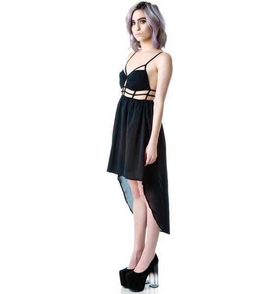 Gride Line Cut Out Dress