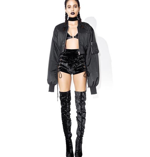 Current Mood Velvet Crushin' Lace-Up Shorts