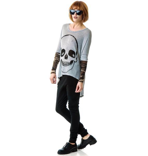 Lauren Moshi Skull Deb Contrast Cuff Sweater