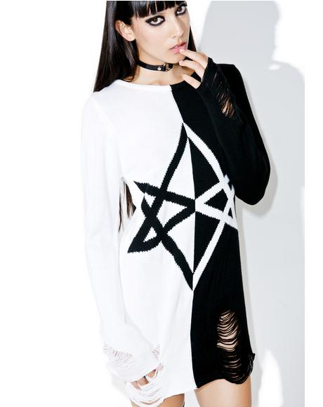 Hexagram Split-Knit Sweater