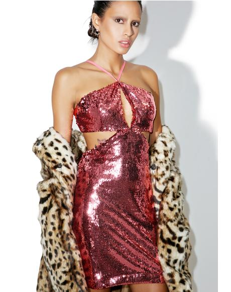 Rose Sequin Desire Cut-Out Dress