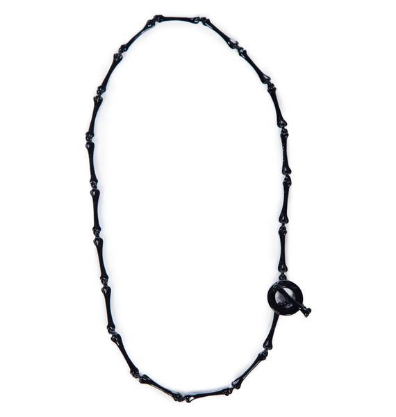 Wildfox Couture Black Hematite Foxy Bone Necklace