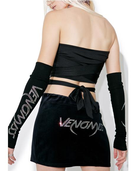 Crystal Logo Velour Mini Skirt