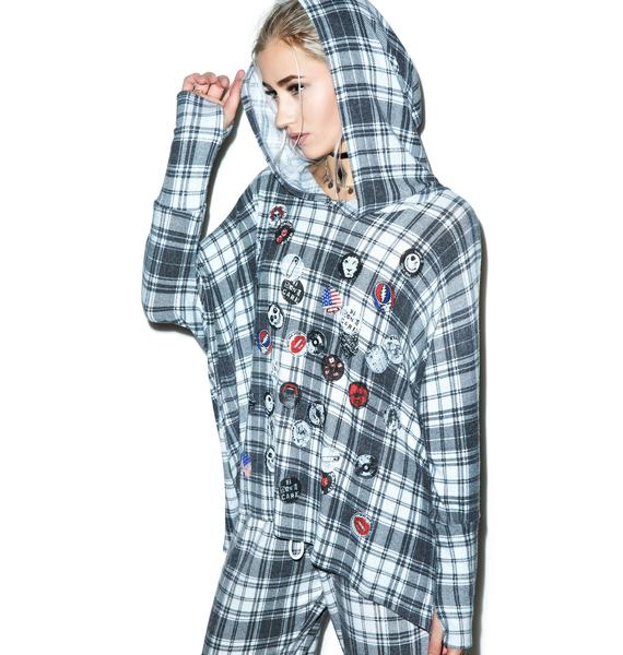 Lauren Moshi Wilma Pins Oversized Hooded Pullover