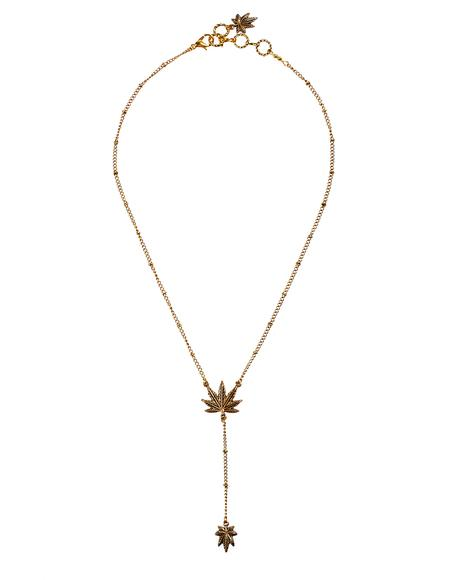 Weed Leaf Lariat Necklace