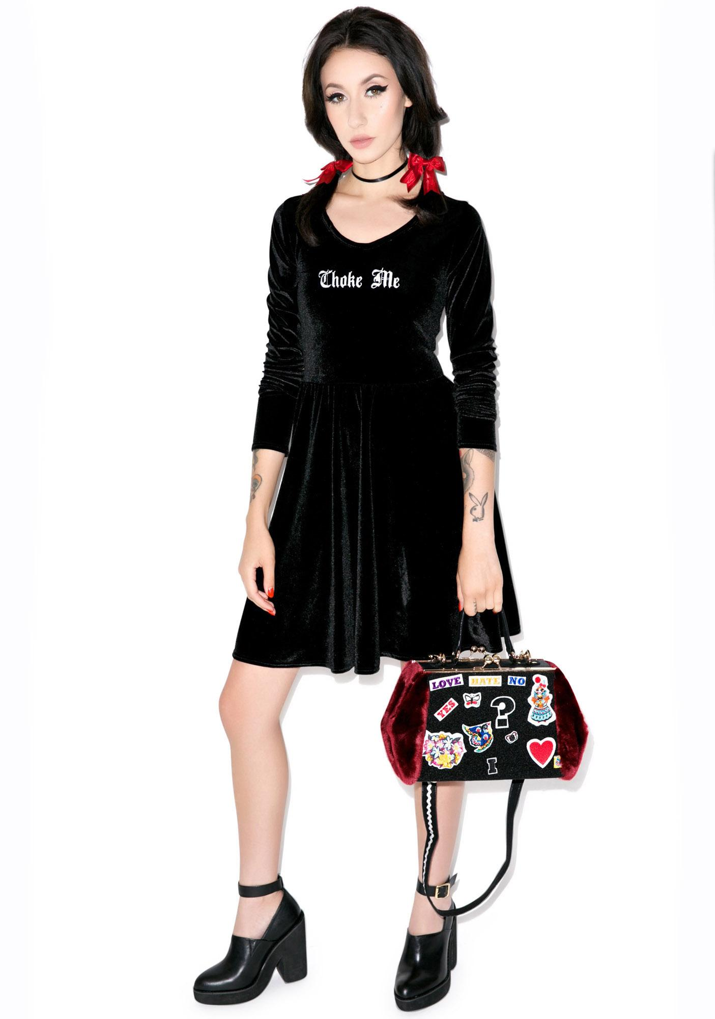 United Couture Choke Me Long Sleeve Velvet Dress