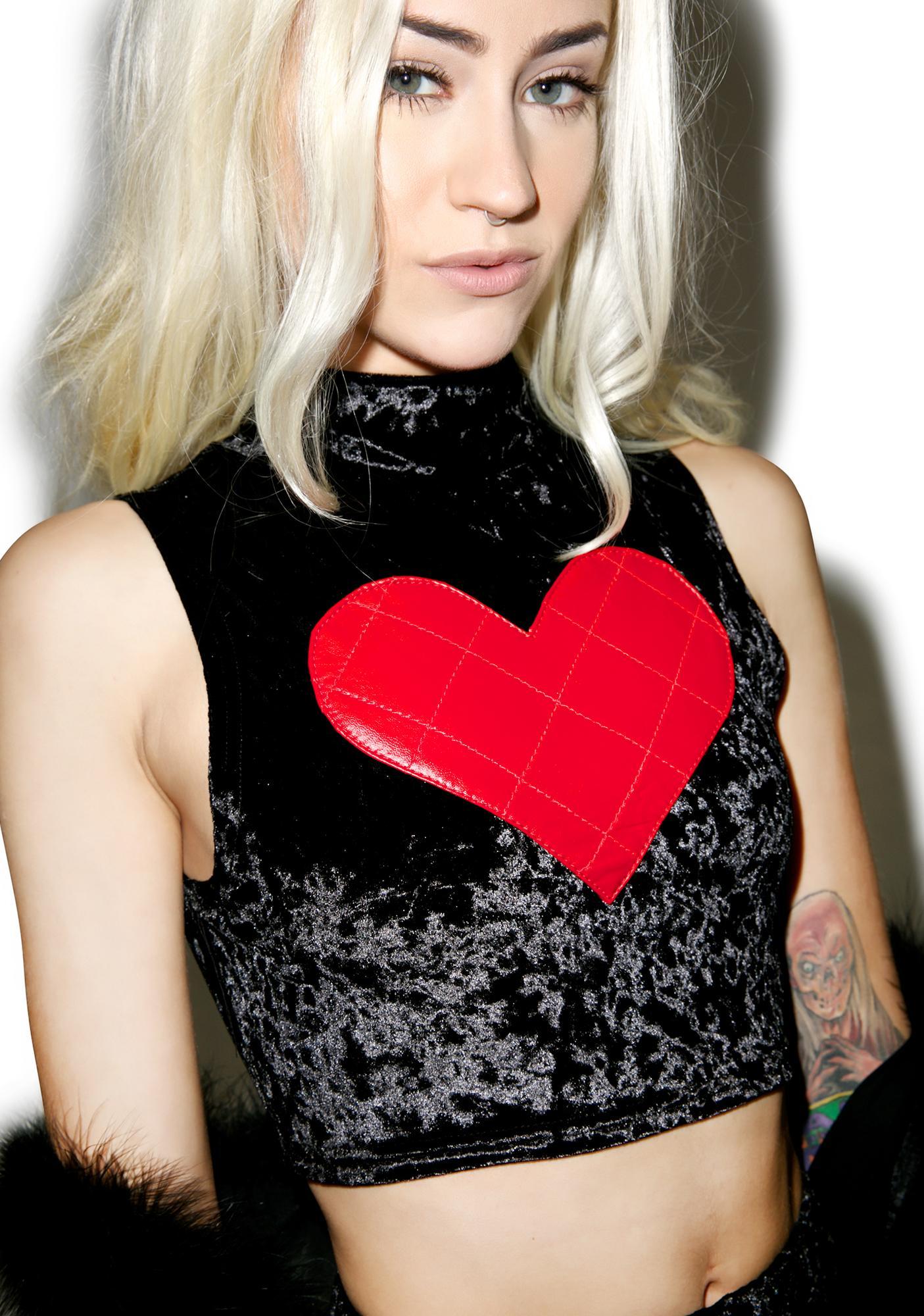 24HRS X Dolls Kill Velvet Lovin' Crop Top