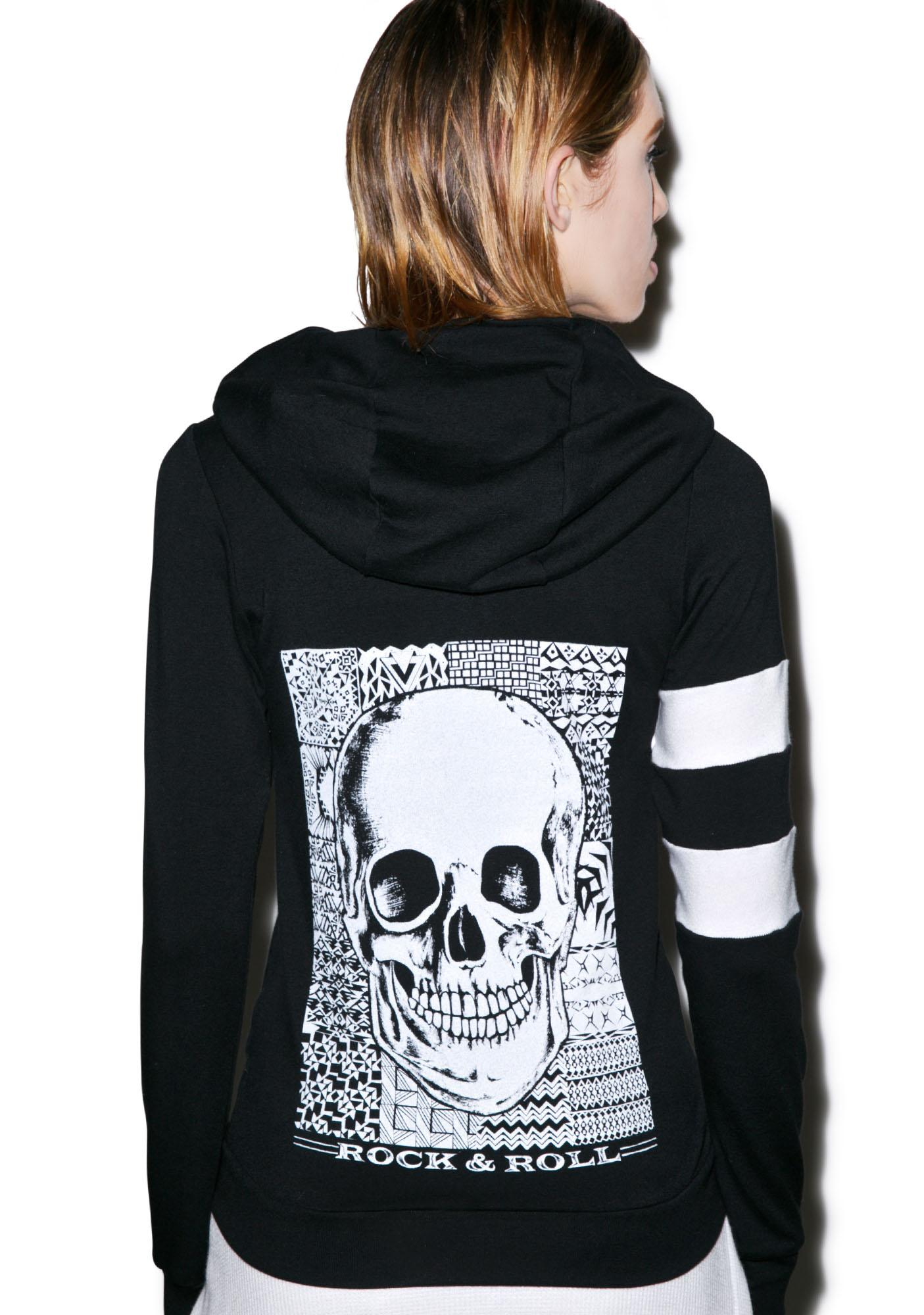 Lauren Moshi Beth Skull Zip up Hoodie