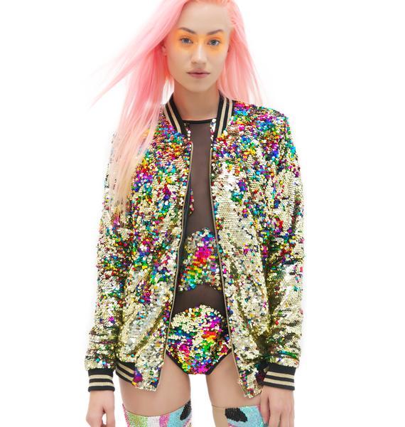 Jaded London Rainbow Sequin Bomber Jacket