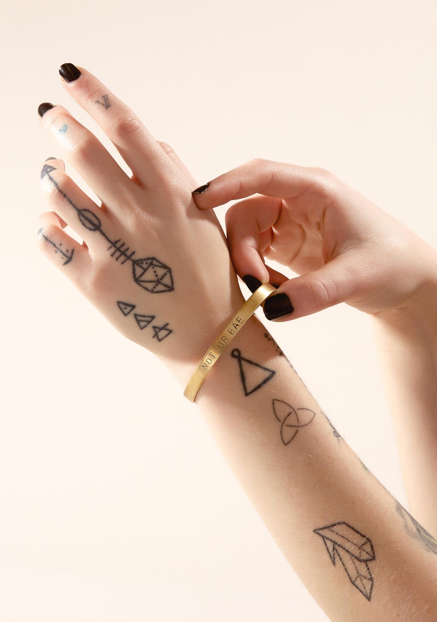 Not Ur Bae Stamped Cuff Bracelet