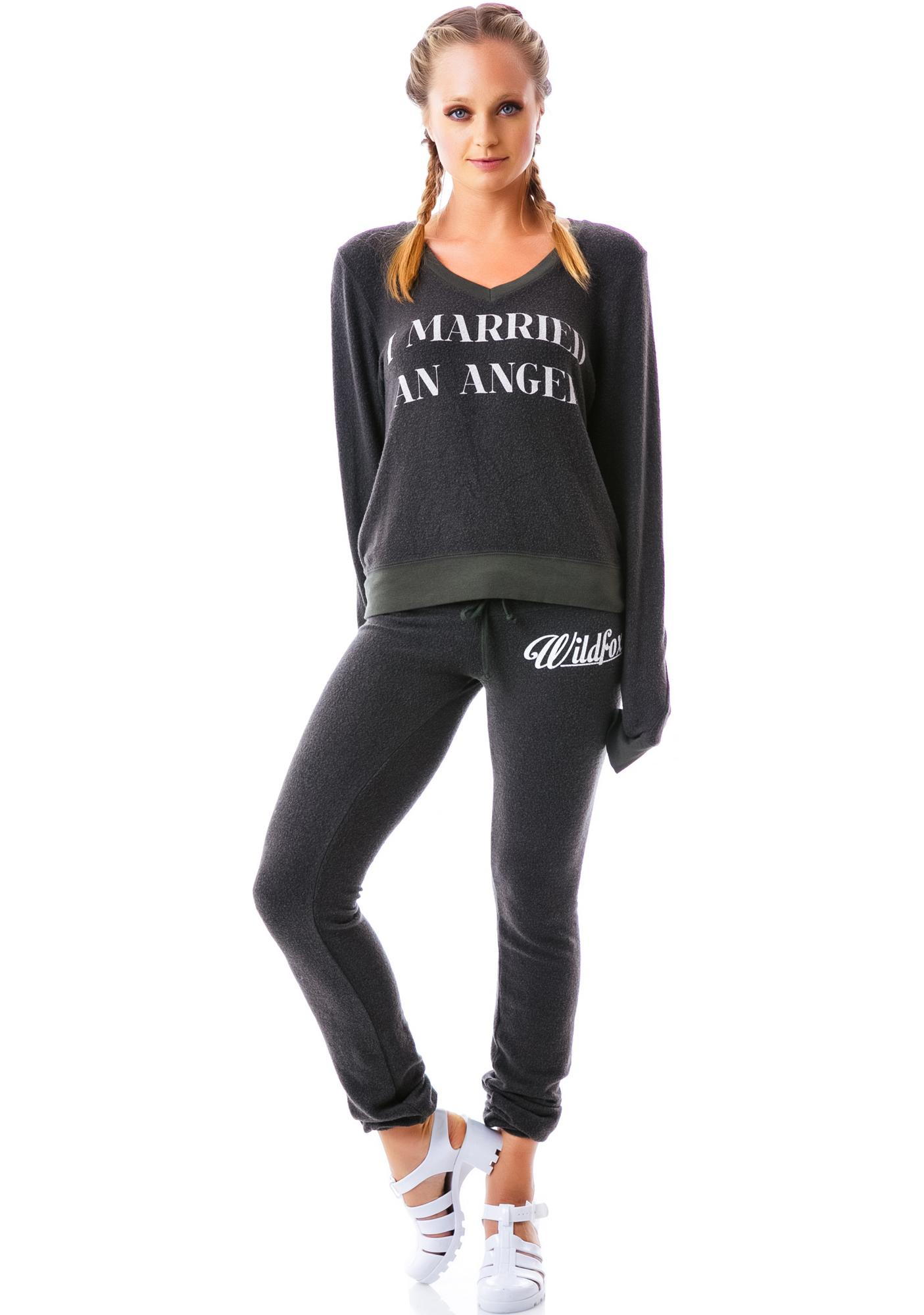 Wildfox Couture I Married An Angel Vintage Varsity Baggy Beach V Neck