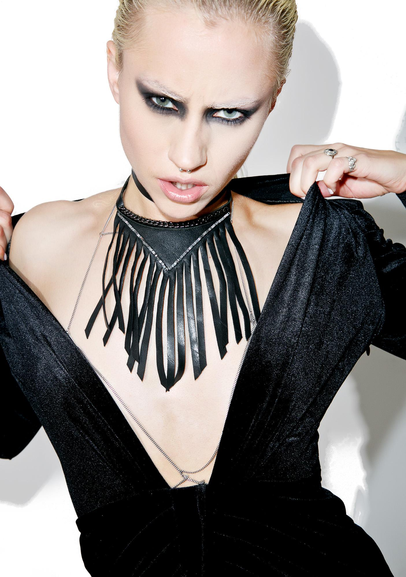 WREN AND GLORY Fringed Leather Choker