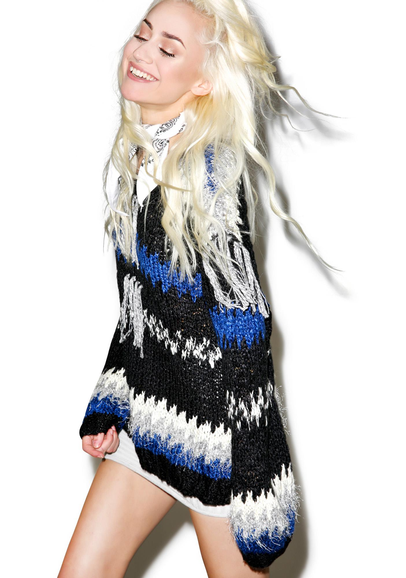 For Love & Lemons Black 'N Blue Crosby Fringe Sweater