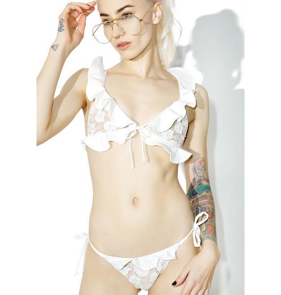 For Love & Lemons Corsica Lacey Ruffle Bikini Top