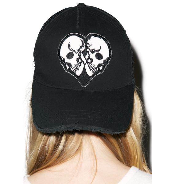 Lauren Moshi Jilly Skull Heart Patch Trucker Hat