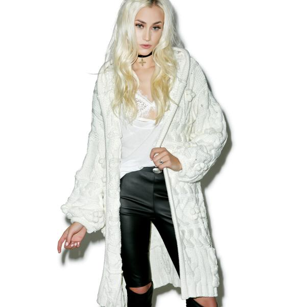 For Love & Lemons Braided Cable Hoodie Cardigan